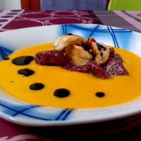 Cream of pumpkin soup, fennel and ginger, beet gnocchi, sautèed shrimp and balsamic reduction