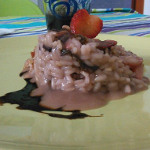 Strawberry risotto and radicchio with balsamic reduction with liquorice