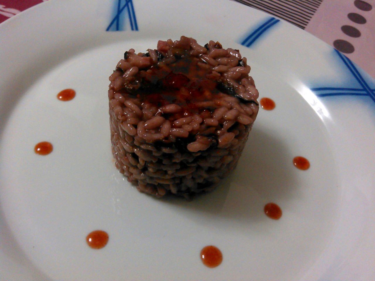 Risotto al lambrusco,radicchio,pancetta e marmellata di fragole con zenzero e balsamico