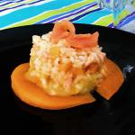 Melon and salmon risotto