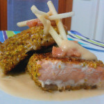Pistachio-crusted salmon with salmon tartare and creamy Green apples